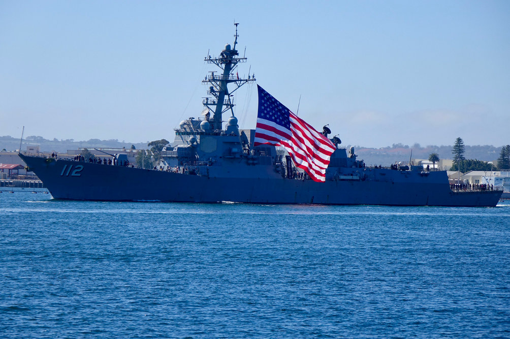 Navy Destroyer Pulled Into San Diego Flying a Colossal American Flag