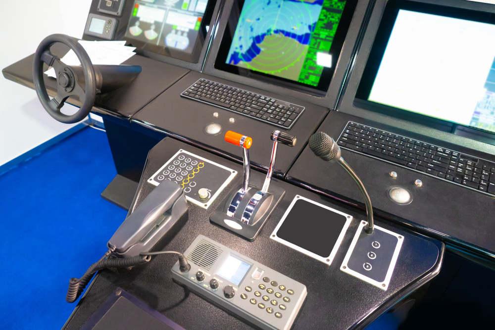Navigational instruments on the captain bridge. Ship control.